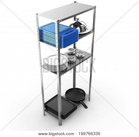Shelf in kitchen with cutting boards and kitchenware on a blue wall (3D Rendering) A lot of dishes