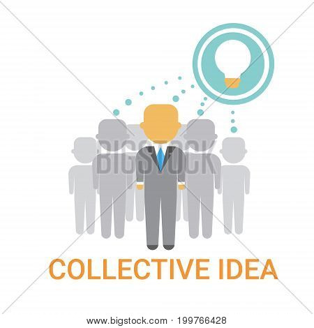 Collective Idea Businesspeople Team Cooperation Icon Business Banner Flat Vector Illustration