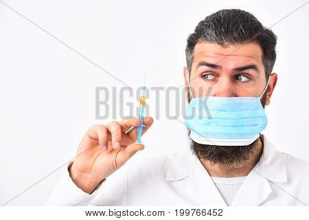 Doctor With Surprised Face Wears Medical Face Mask