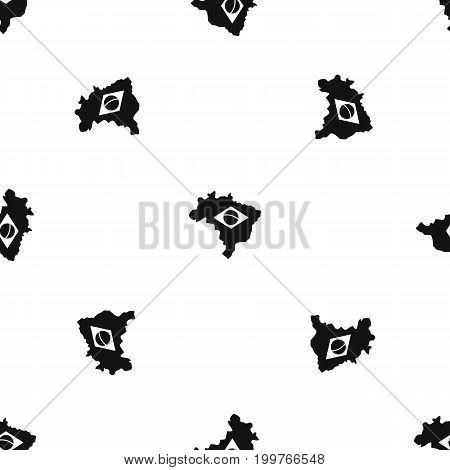 Brazil map with flag pattern repeat seamless in black color for any design. Vector geometric illustration