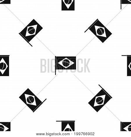 Flag of Brazil pattern repeat seamless in black color for any design. Vector geometric illustration