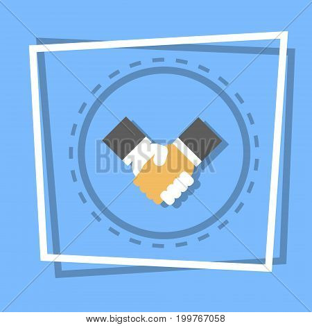Handshake Icon Business Deal Agreement Concept Flat Vector Illustration