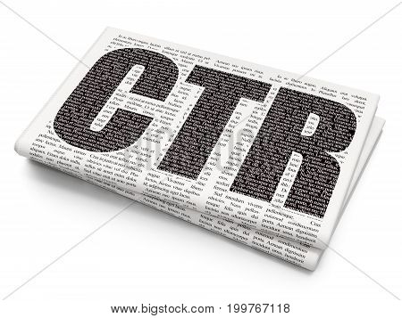 Finance concept: Pixelated black text CTR on Newspaper background, 3D rendering