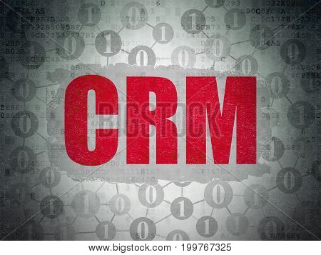 Finance concept: Painted red text CRM on Digital Data Paper background with  Scheme Of Binary Code