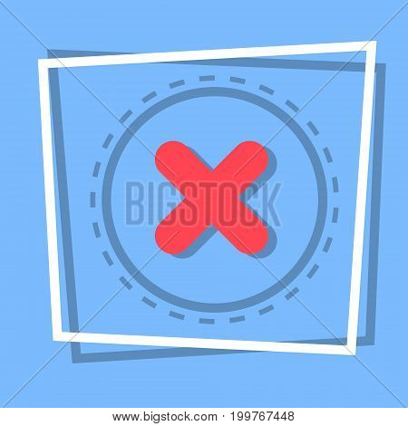 X Icon Cross Decline Button Interface Concept Flat Vector Illustration