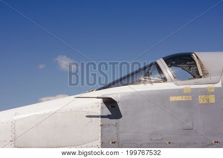 Airforce day background. Cabin of fighting jet.