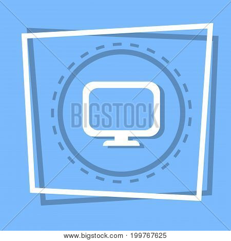 Computer Screen Icon Pc Monitor Web Button Flat Vector Illustration