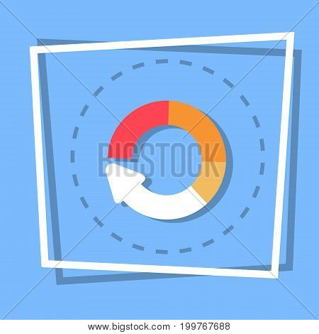 Circle Arrow Diagram Icon Reload Web Button Flat Vector Illustration