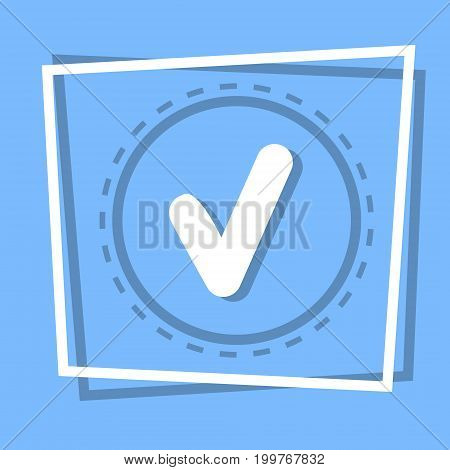 Check Point Icon Tick Web Button Flat Vector Illustration