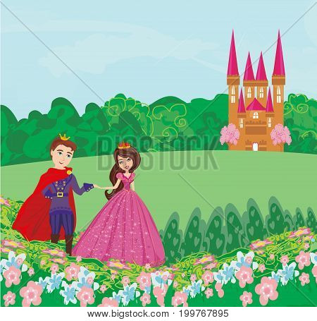 The princess and the prince in a beautiful garden , vector illustration