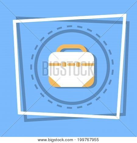 Briefcase Icon Business Portfolio Concept Web Button Flat Vector Illustration
