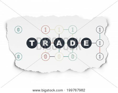 Business concept: Painted black text Trade on Torn Paper background with Scheme Of Binary Code