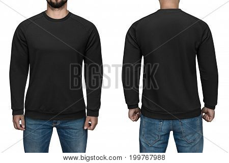 men in blank black pullover, front and back view, isolated white background. Design sweatshirt, template and mockup for print.