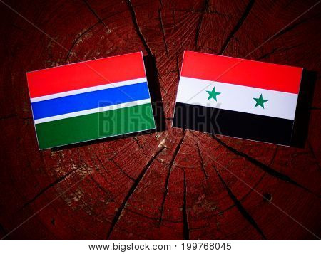 Gambian Flag With Syrian Flag On A Tree Stump Isolated