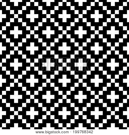Pixel style vector seamless pattern. White black ornaments on white background. Nordic style fabric swatch.