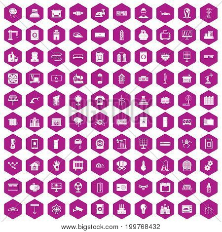 100 electrical engineering icons set in violet hexagon isolated vector illustration