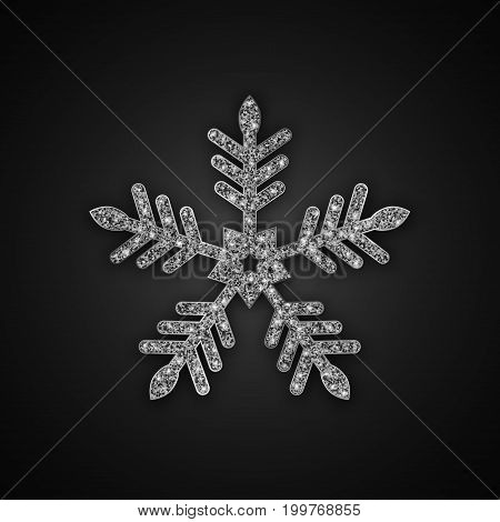 Silver Glitter Snowflake, Christmas New Year greeting card, Vector Illustration