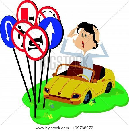 Puzzled young woman a driver isolated. Funny young woman in the car puts hands on the head and looks at the road signs