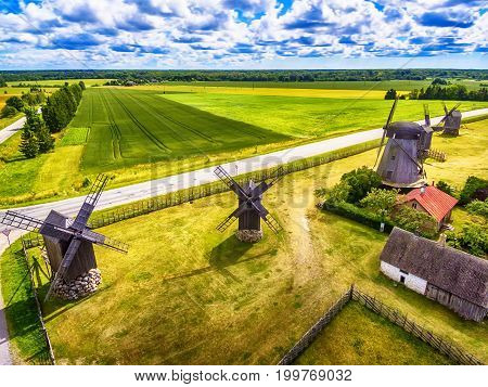 Saarema Island, Estonia: aerial top view of summer fields and Angla windmills in Leisi Parish