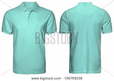 blank turquoise polo shirt, front and back view, isolated white background. Design polo shirt, template and mockup for print.