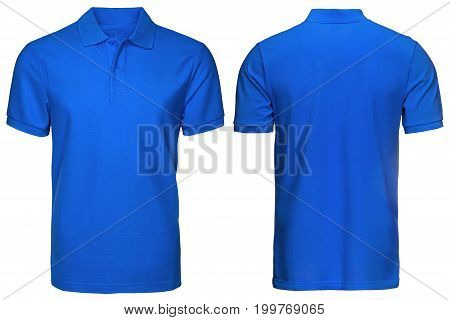 blank blue polo shirt, front and back view, isolated white background. Design polo shirt, template and mockup for print.