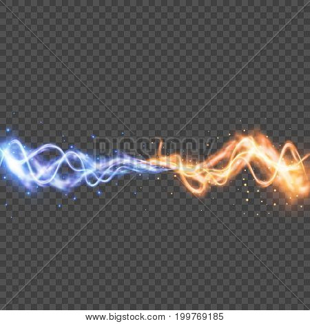 Vector transparent light effect, Collision of two forces with yellow and blue lights, Realistic lightnings