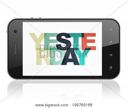 Time concept: Smartphone with Painted multicolor text Yesterday on display, 3D rendering