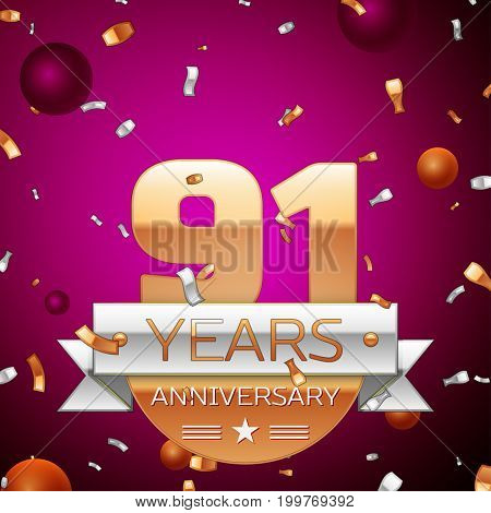 Realistic Ninety one Years Anniversary Celebration Design. Golden numbers and silver ribbon, confetti on purple background. Colorful Vector template elements for your birthday party