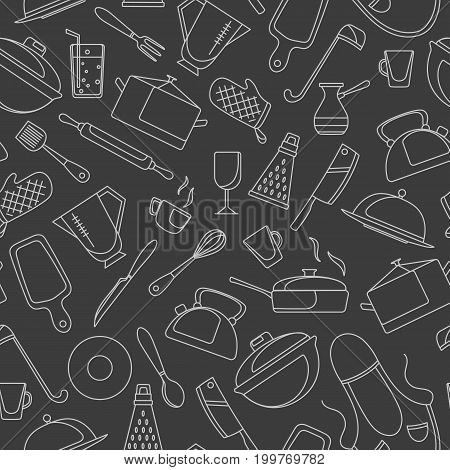 Seamless pattern on the theme of cooking and kitchen utensils simple contour icons white contour on dark background