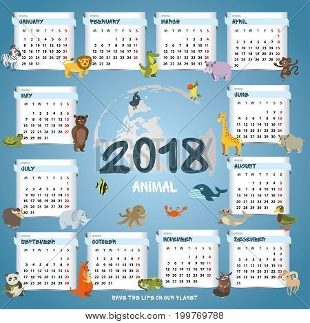 children calendar 2018. different animals on the background of months. vector