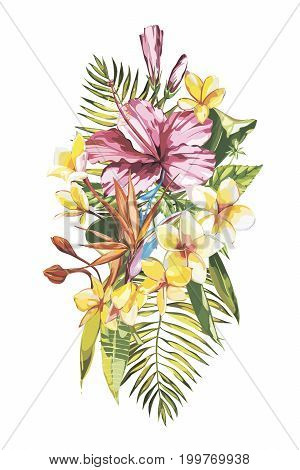 Watercolor painting tropical bouquet with exotic flowers.