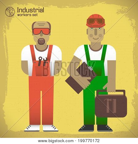 Industrial workers concept with men in overalls and professional instruments on yellow worn background isolated vector illustration