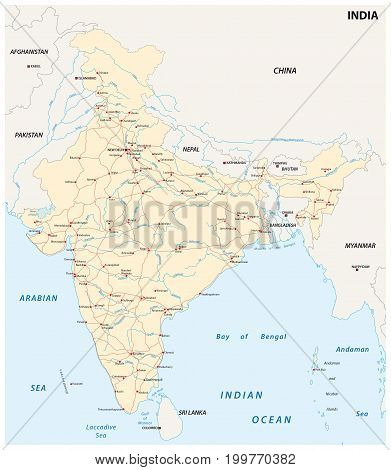 India road map with the main cities