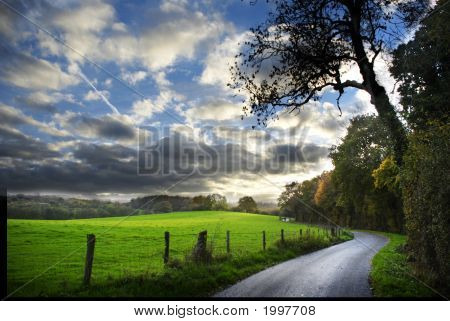 poster of country road in English countryside in autumn