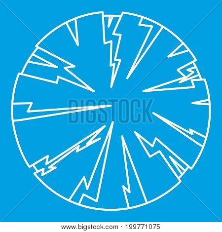 Dangerous planet icon blue outline style isolated vector illustration. Thin line sign