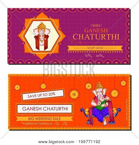 vector illustration of Lord Ganapati for Happy Ganesh Chaturthi festival shopping sale offer promotion advetisement background