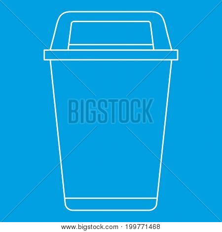 Flip lid bin icon blue outline style isolated vector illustration. Thin line sign