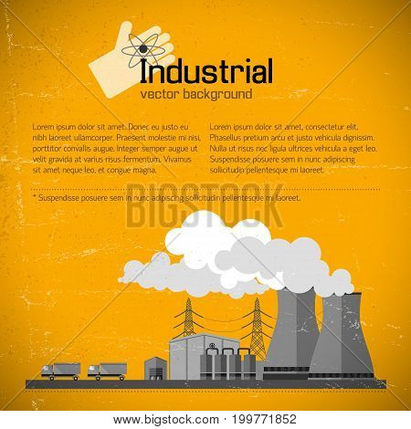 Factory with industrial equipment and smokestacks electricity and trucks on yellow textured background vector illustration