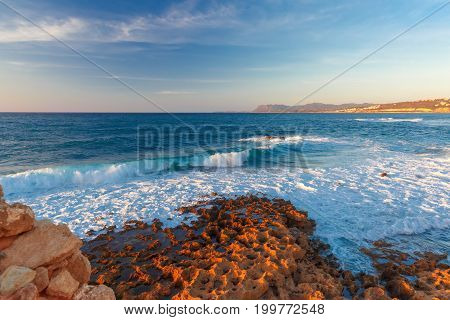 Old harbour of Chania at sunset, Crete, Greece