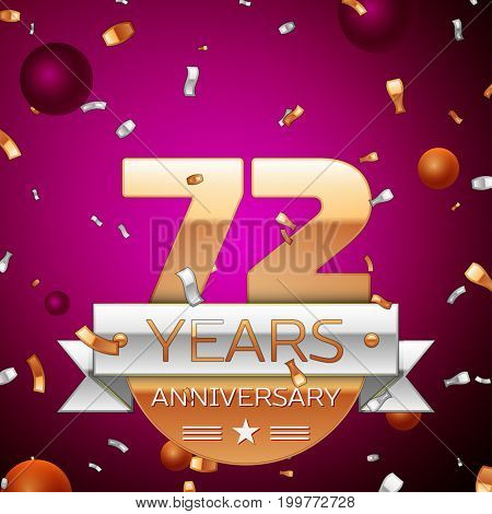 Realistic Seventy two Years Anniversary Celebration Design. Golden numbers and silver ribbon, confetti on purple background. Colorful Vector template elements for your birthday party