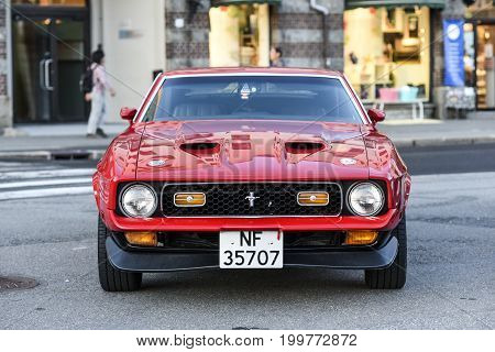Bergen Norway 23 July 2017: Ford Mustang 1971 Standing on a street in Bergen front view.