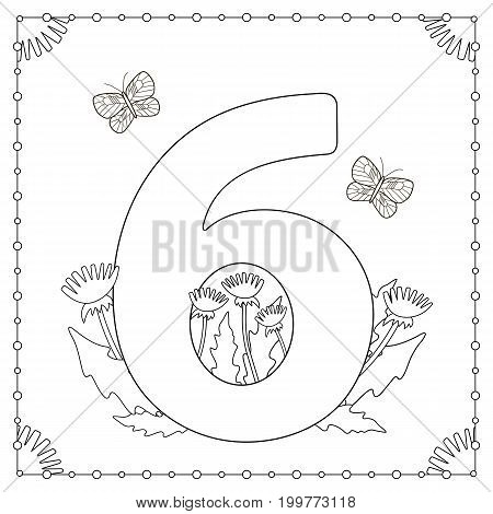 Numeral Six with flowers leaves and butterflies. Coloring page. Vector illustration.