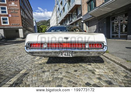 Bergen Norway 23 July 2017: 1969 MERCURY MARQUIS BROUGHAM standing in the parking lot. View on the rear.