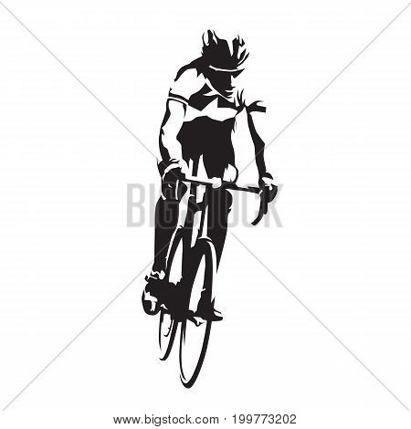 Road cyclist on his bike abstract vector silhouette front view