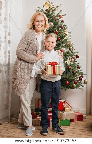 Woman With Son On Christmas