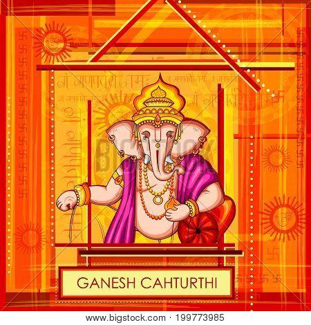 vector illustration of Lord Ganapati for Happy Ganesh Chaturthi festival background with text in Hindi G Ganpataye Namah Ganesha, I pray to you