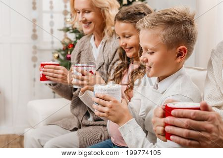 Grandparents And Kids With Hot Drinks