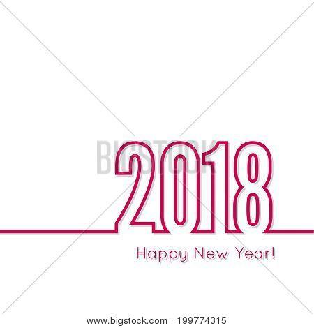 creative happy new year 2018 design. Flat design. Outline