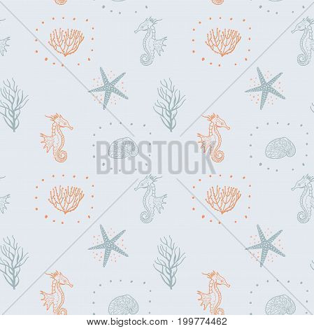 Seamless Pattern With Seashells Starfish And Sea Horse. Decorative Sea Seamless Pattern Vector. Hand Drawing Doodle Marine Background. Seamless For Fabric Design Gift Wrapping Paper And Printing.
