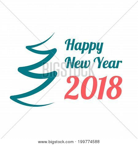 Happy New Year 2018 banner on white background